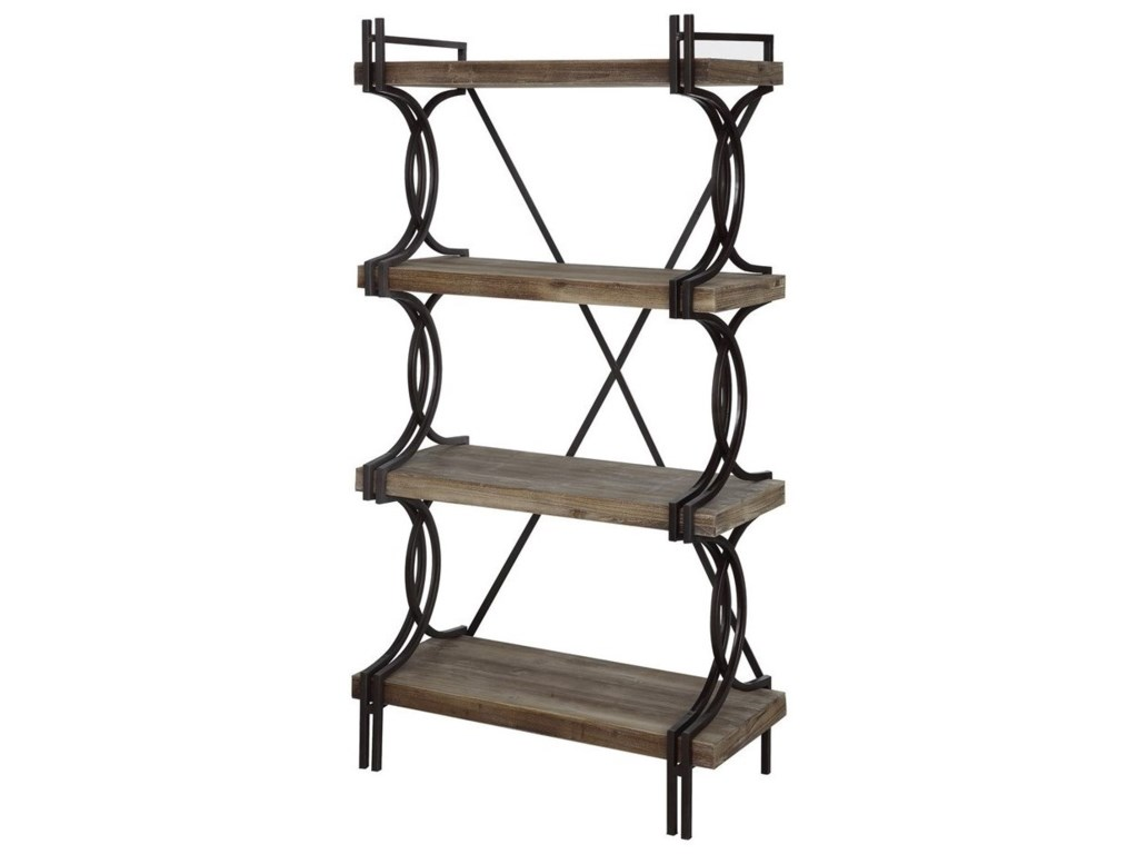 Crestview Collection Accent FurnitureIndustrial Metal And Wood Etagere