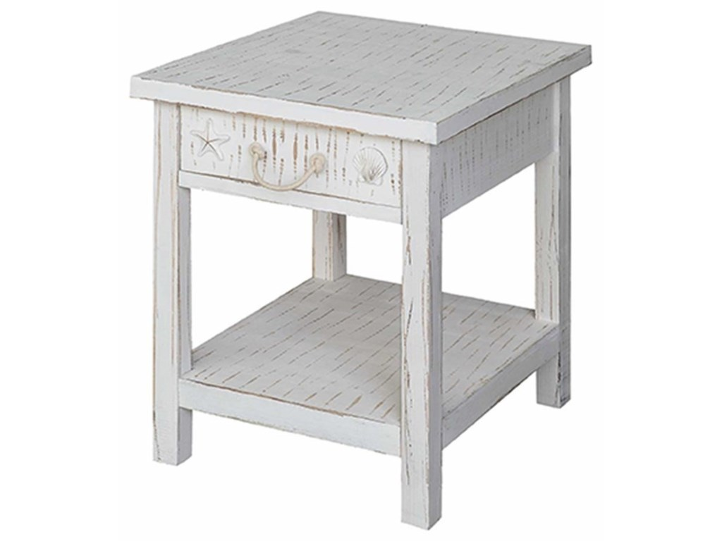 Crestview Collection Accent FurnitureSeaside White Coastal End Table