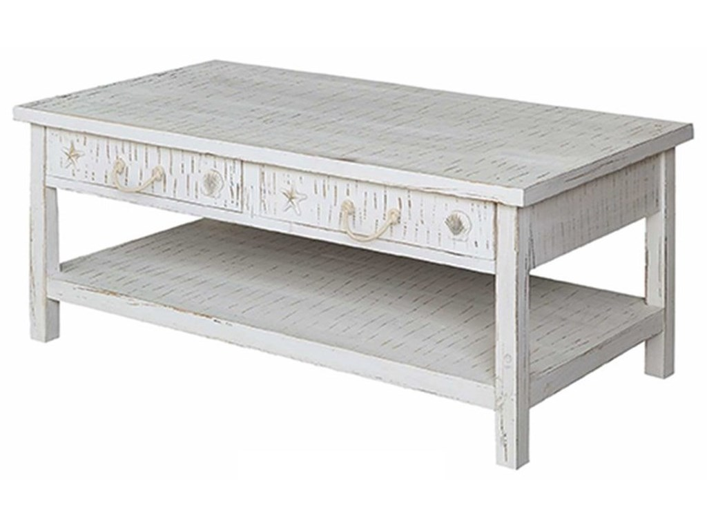 Crestview Collection Accent FurnitureSeaside White Coastal Cocktail Table
