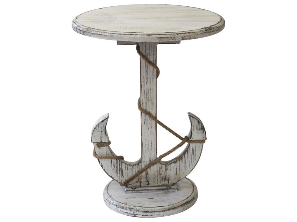 Crestview Collection Accent FurnitureHarbor Distressed White Anchor Table