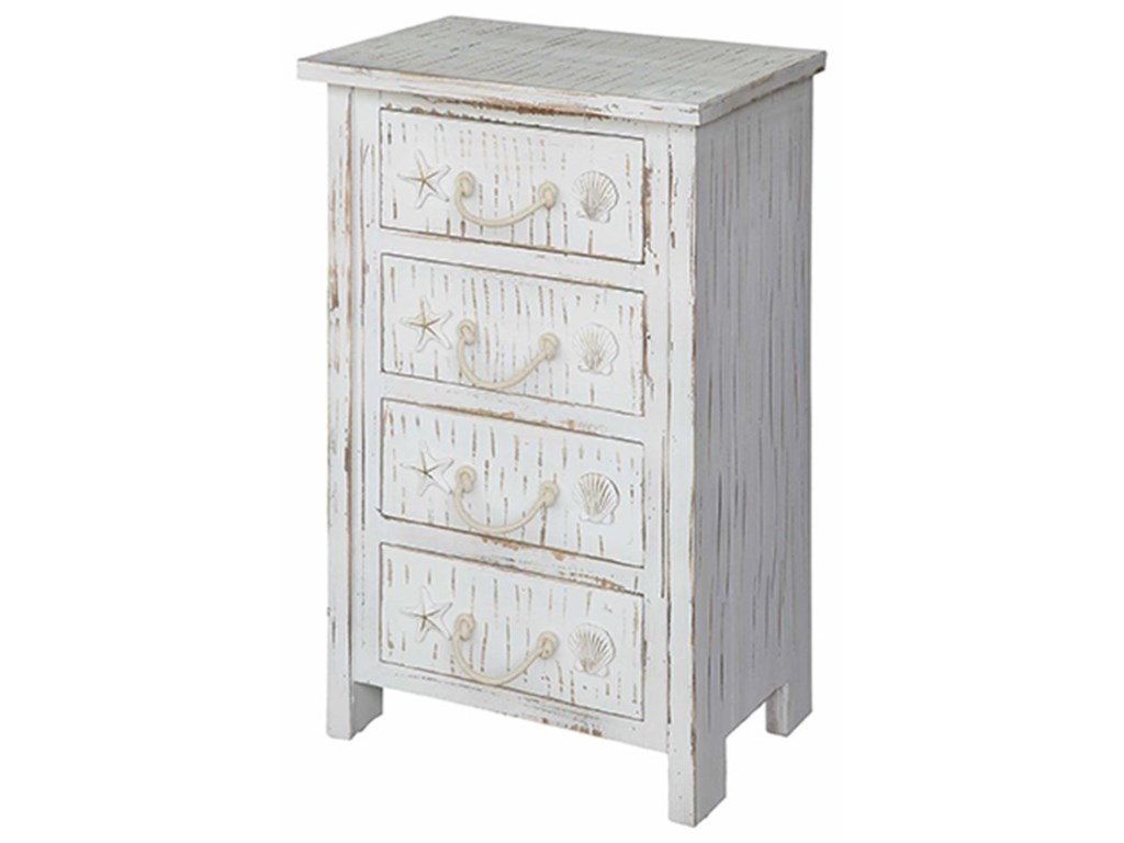 Crestview Collection Accent FurnitureSeaside White Shell 4 Drawer Chest