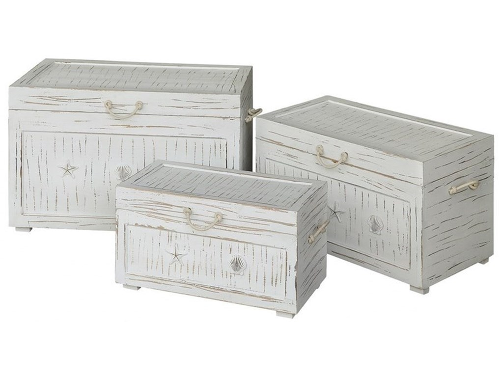 Crestview Collection Accent FurnitureSeaside White Shell Set Of 3 Trunks