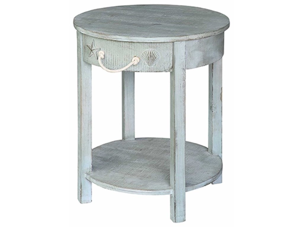 Crestview Collection Accent FurnitureBayside Blue Shell 1 Drawer Round Accent Tab