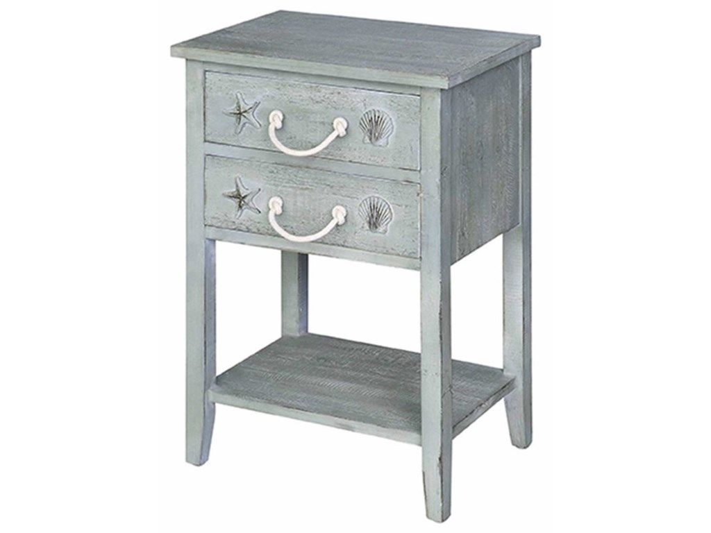 Crestview Collection Accent FurnitureBayside Blue Shell 2 Drawer Accent Table