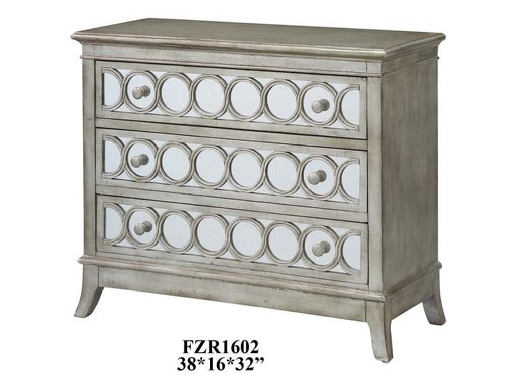 Crestview Collection Accent FurnitureBeverly Gold Leaf Mirrored Circle 3 Drawer C