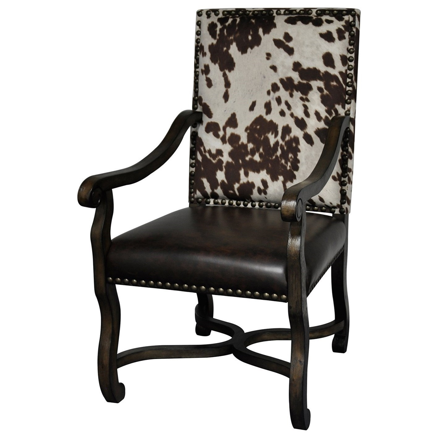 Crestview Collection Accent Furniture Mesquite Ranch Leather And Faux  Cowhide Arm Chair   Great American Home Store   Exposed Wood Chairs