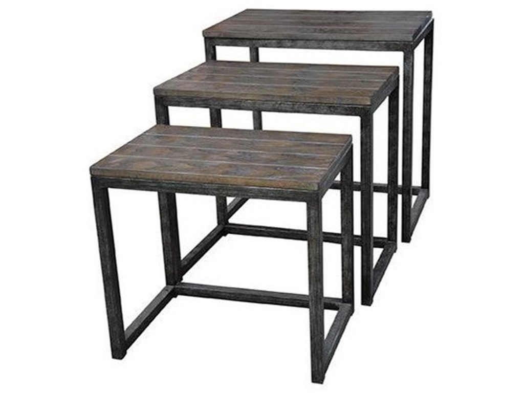 Crestview Collection Accent FurnitureTrail Ridge Aged Metal and Burnished Oak Set
