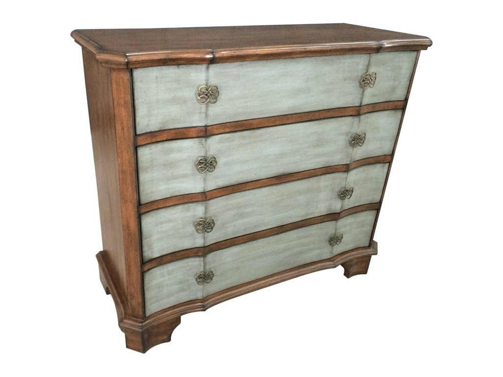 Crestview Collection Accent FurnitureFelicity 4 Drawer 2 Tone Shaped Front Chest