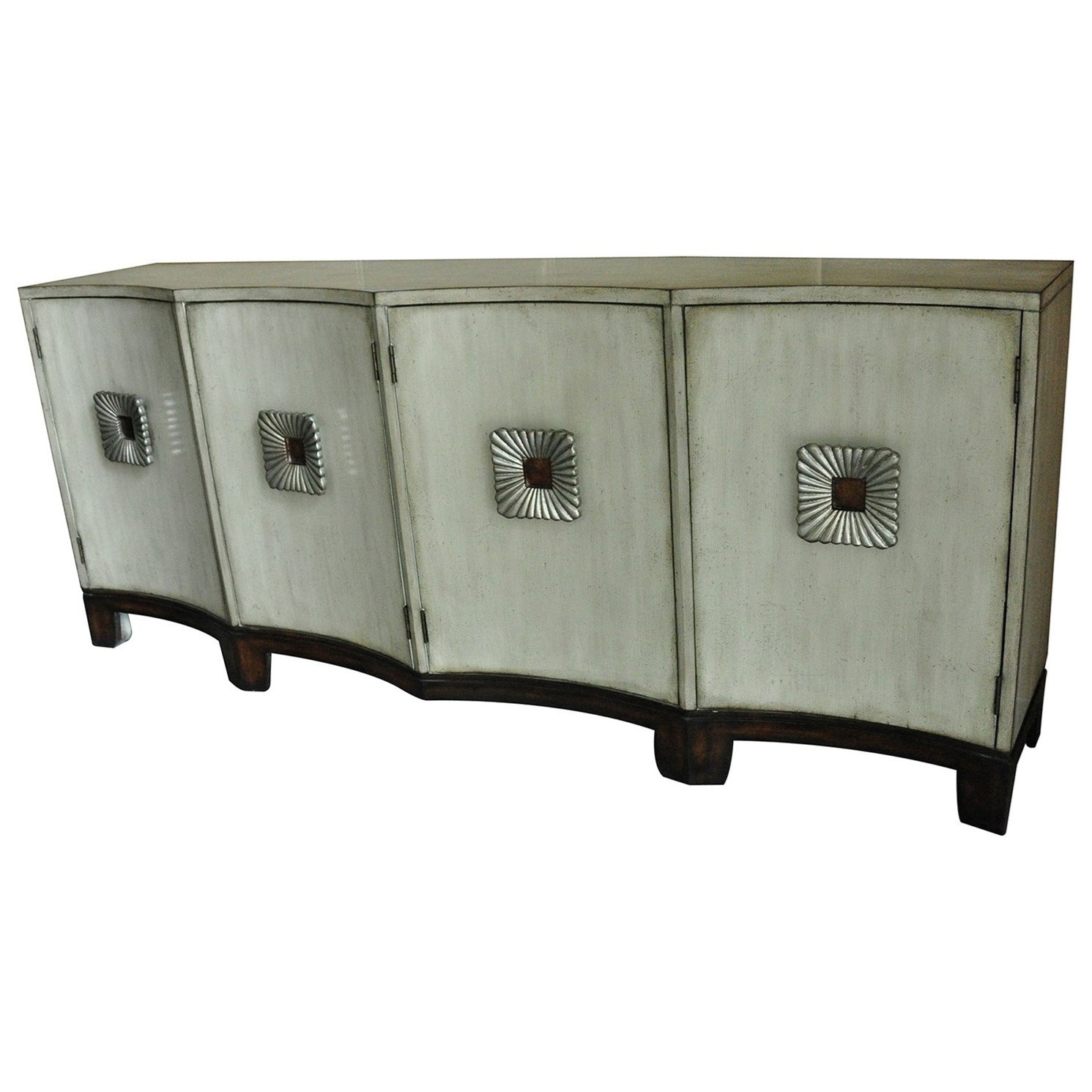 Crestview Collection Accent Furniture Georgetown 4 Shaped Door Antique  Ivory Sideboard