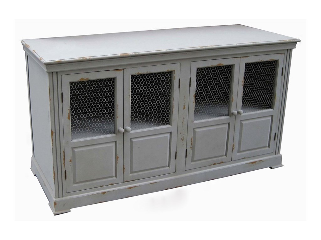 Crestview Collection Accent FurnitureLydia Pale Grey and Chicken Wire Sideboard