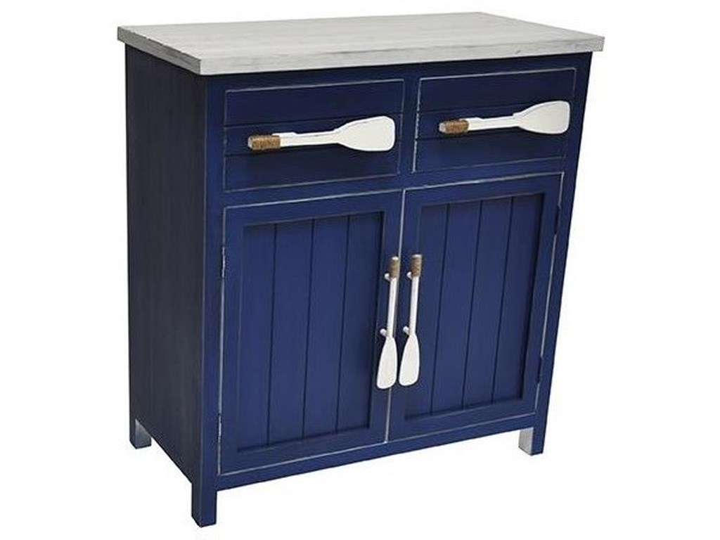 Crestview Collection Accent FurnitureCape May Azure Blue and White Paddle Cabinet