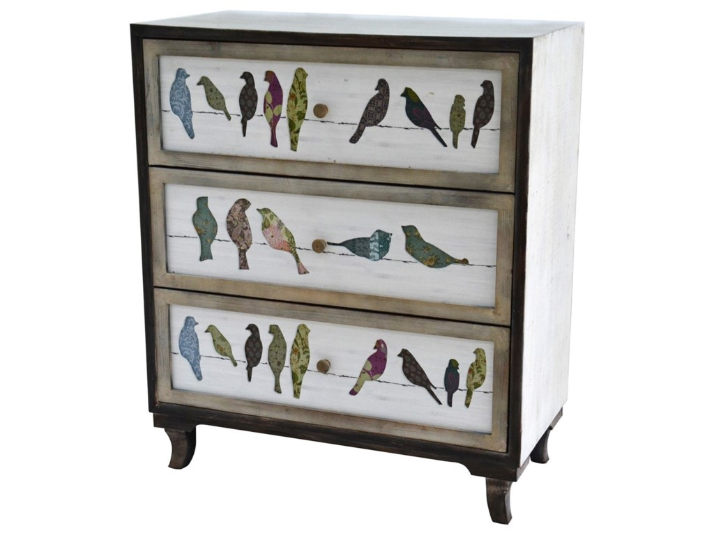 Crestview Collection Accent FurnitureBirds on a Wire 3 Drawer Painted Chest