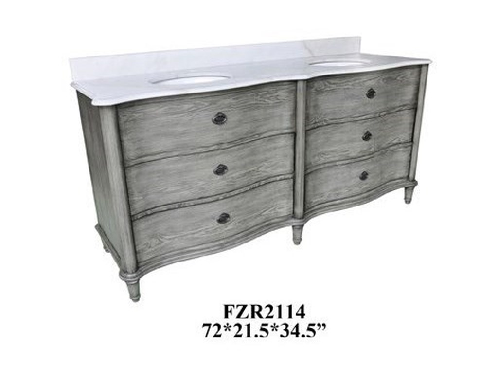 Crestview Collection Accent FurnitureCurved 4 Drawer Double Vanity Sink