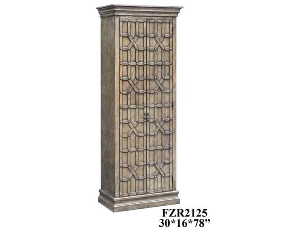 Crestview Collection Accent FurnitureSedgwick Overlaid Fretwork Tall Cabinet