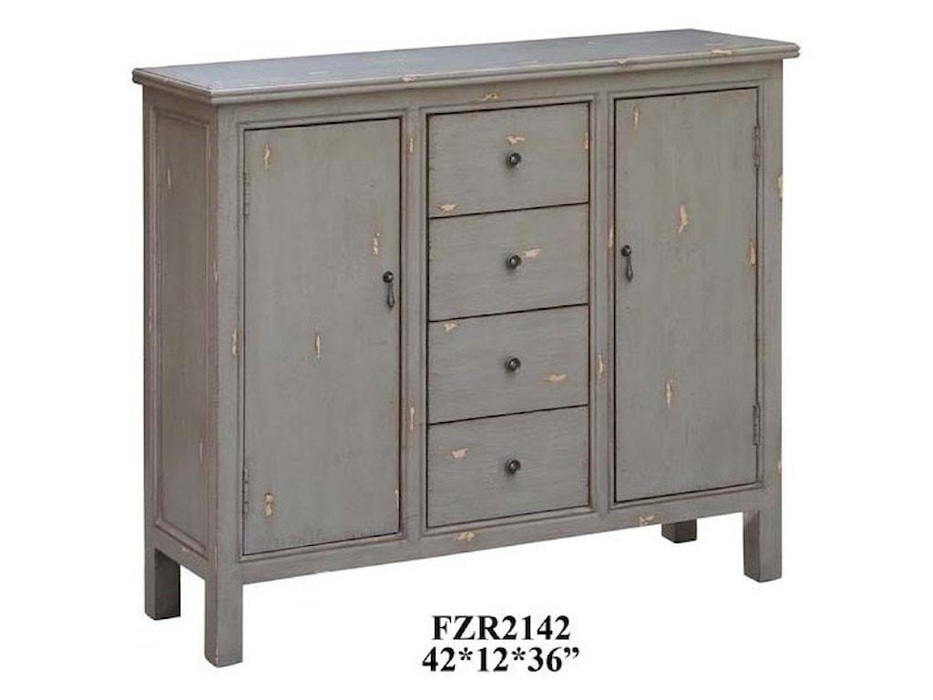 Crestview Collection Accent FurnitureRichmond Textured Grey 4 Drawer / 2 Door Cab