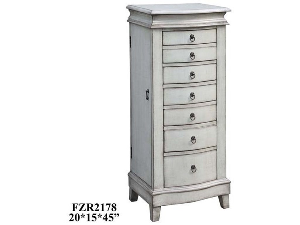 Crestview Collection Accent FurnitureEvelyn Pale Grey Jewelry Armoire