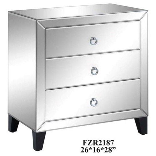 Crestview Collection Accent FurnitureBentley 3 Drawer Beveled Mirrord Chest