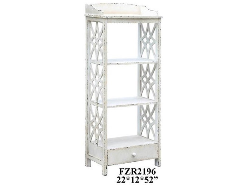 Crestview Collection Accent FurnitureMagnolia 1 Drawer Distressed White Etagere