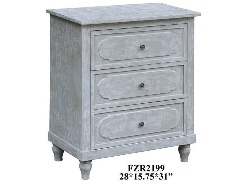 Crestview Collection Accent FurnitureCallaghan 3 Drawer Cloudy Grey Chest