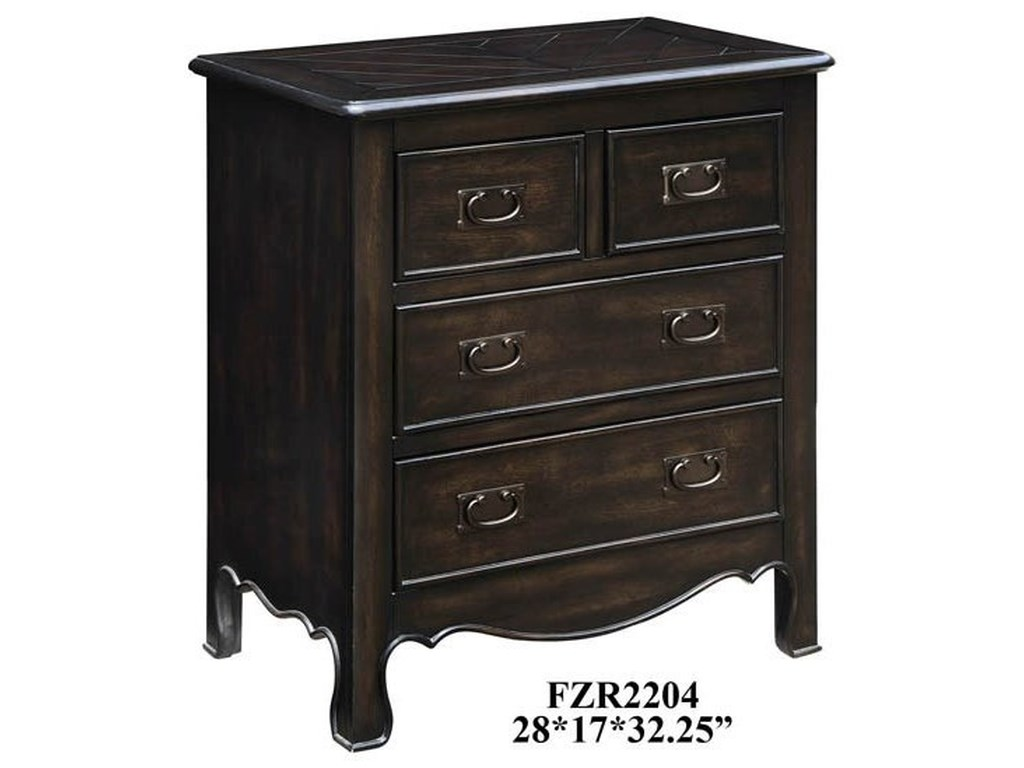 Crestview Collection Accent FurnitureWoodbridge 4 Drawer Dark Oak Chest