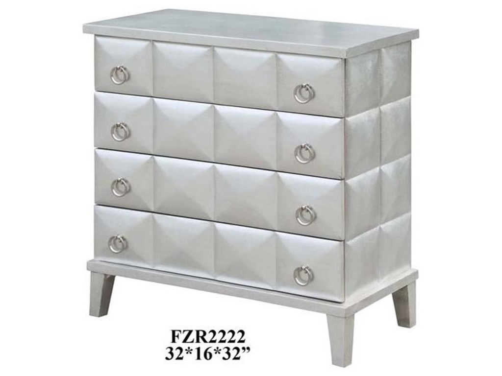 Crestview Collection Accent FurnitureSoHo 4 Drawer Pyramid Front Silver Leaf Ches