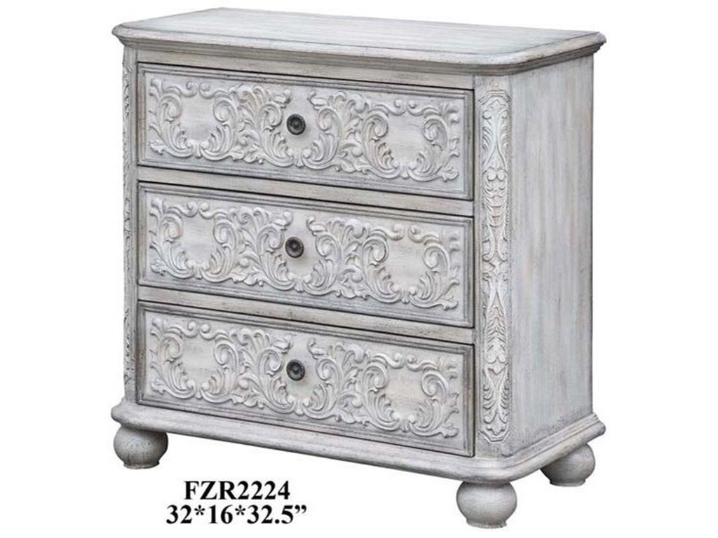Crestview Collection Accent FurnitureAnnabelle 3 Drawer French Scroll Overlay Ant