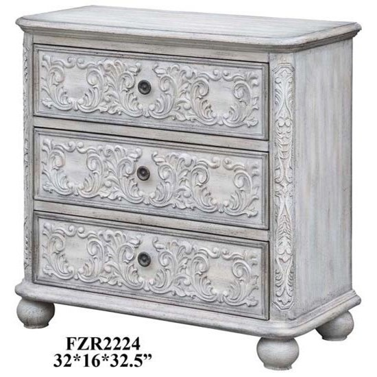 Accent Furniture Annabelle 3 Drawer French Scroll Overlay Antique White    Miskelly Furniture   Accent Chests