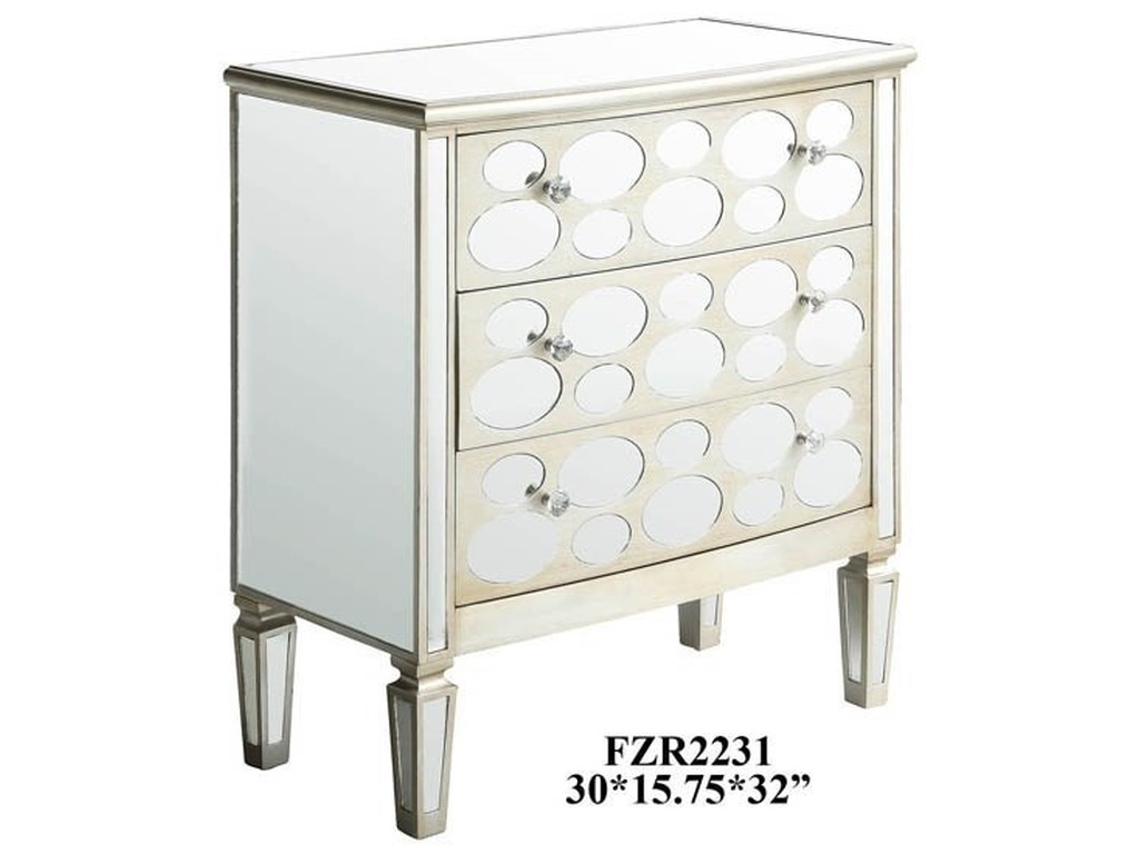 Crestview Collection Accent FurnitureFelicity 3 Drawer Oval Mirror Design Champag