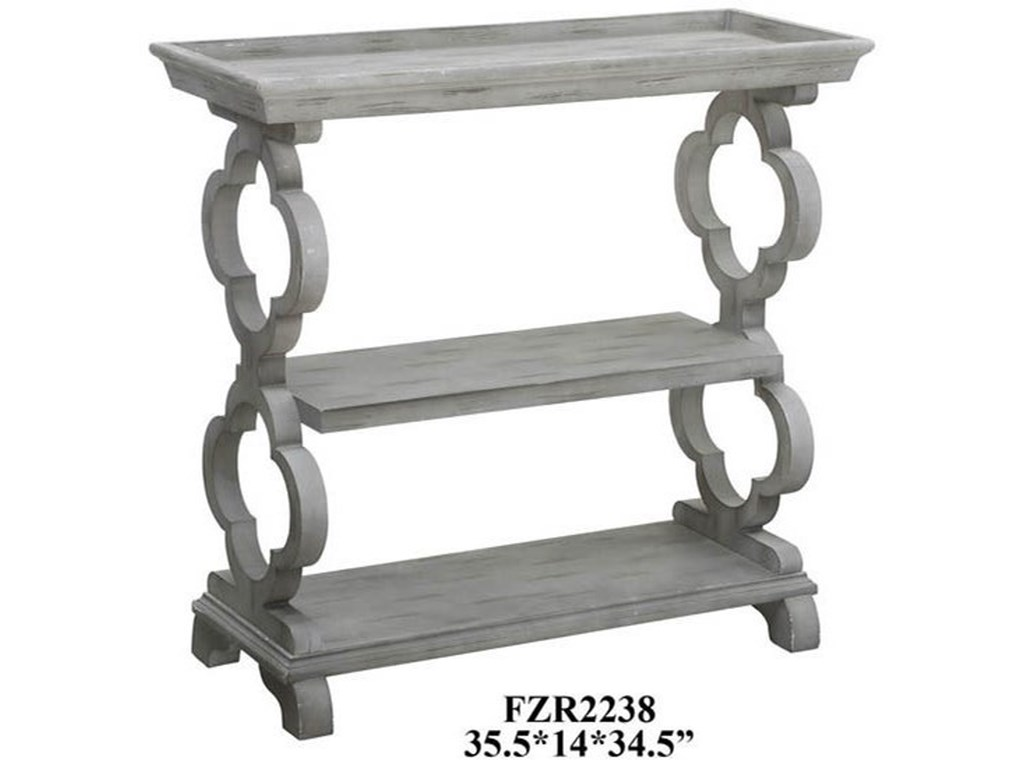 Crestview Collection Accent FurnitureChelsea Tray Top Grey Quatrefoil Console Tab