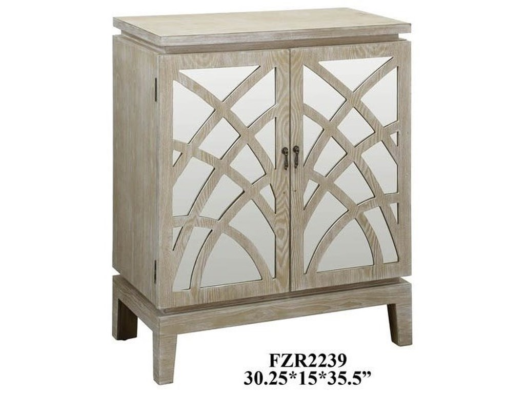 Crestview Collection Accent FurnitureBiscayne Light Oak 2 Mirrored Design Door Ca