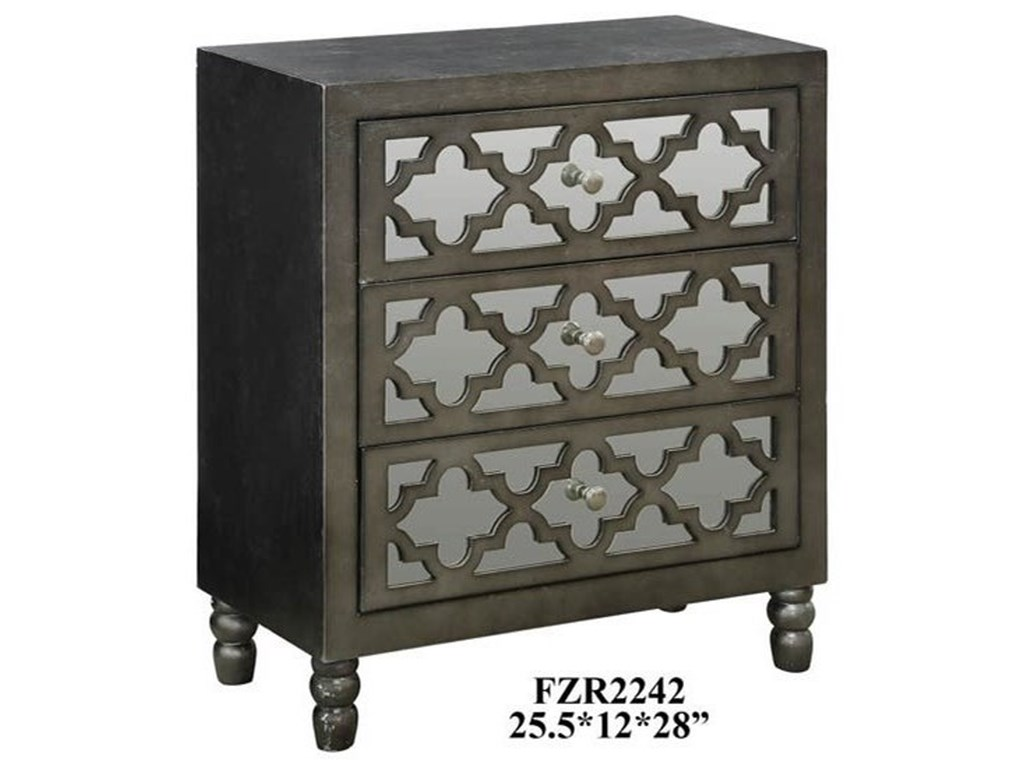 Crestview Collection Accent FurnitureAvery 3 Mirrored Drawer Silver Leaf Chest w/