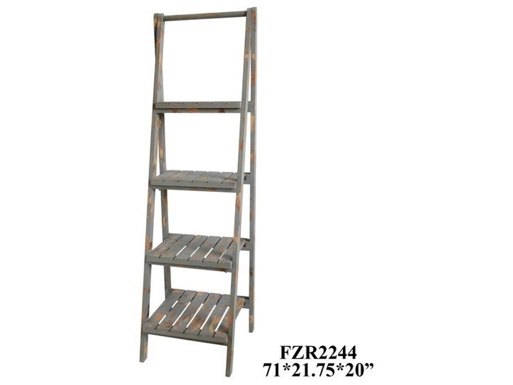 Crestview Collection Accent FurnitureSutton 4 Tier Grey Distressed Wood Angled Et