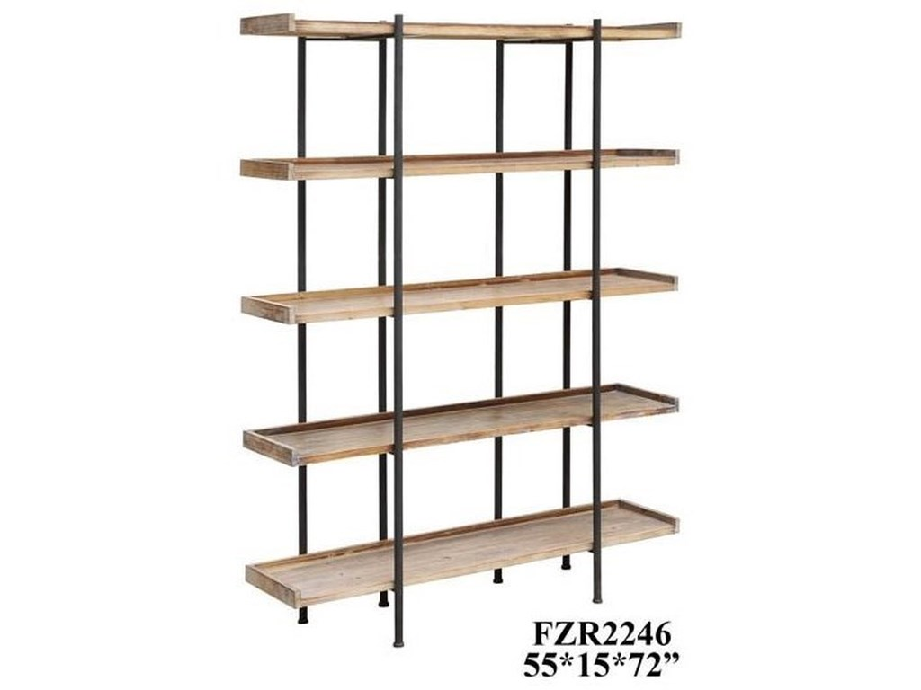 Crestview Collection Accent FurnitureWingate Rustic Wood and Metal 4 Shelf Etager