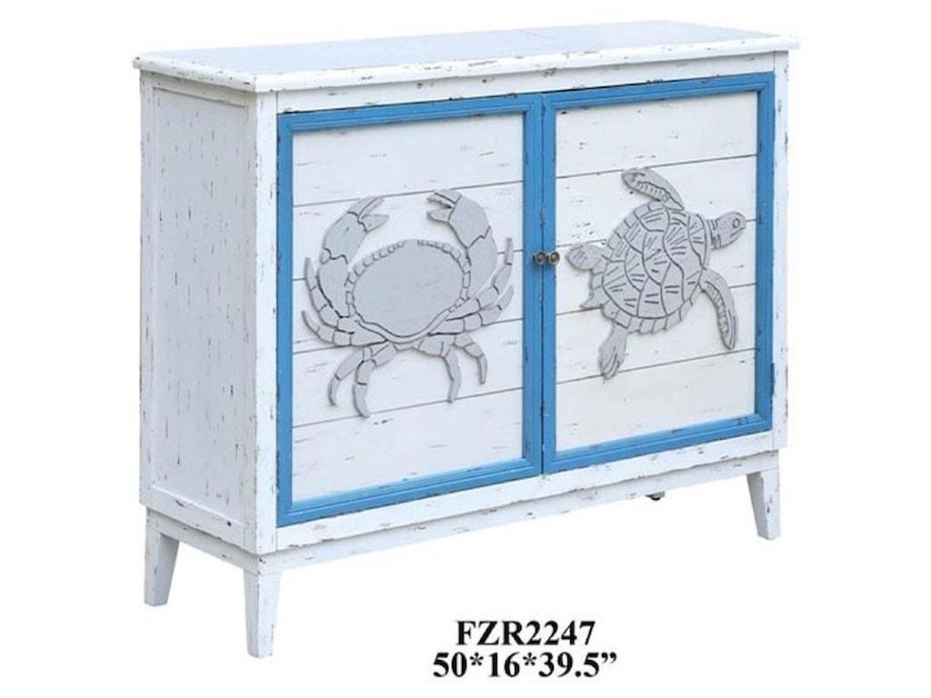Crestview Collection Accent FurnitureBlock Island Whitewash 2 Door Crab and Turtl