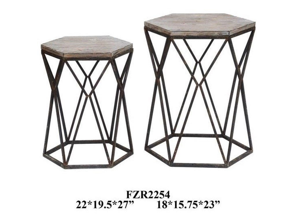 Crestview Collection Accent FurnitureBuena Vista Rustic Metal and Wood Set of Tab