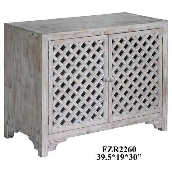 Crestview Collection Accent Furniture Charlotte 2 Door Light Wash Diamond  Lattice Work Cabinet