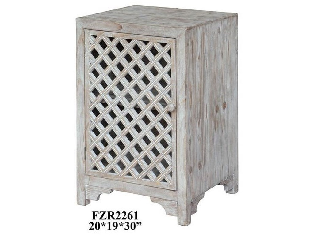 Crestview Collection Accent FurnitureCharlotte 1 Door Light Wash Diamond Lattice