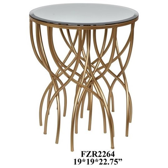 Crestview Collection Accent Furniture Melrose Gold Squiggly Leg Beveled  Mirror Accent Table