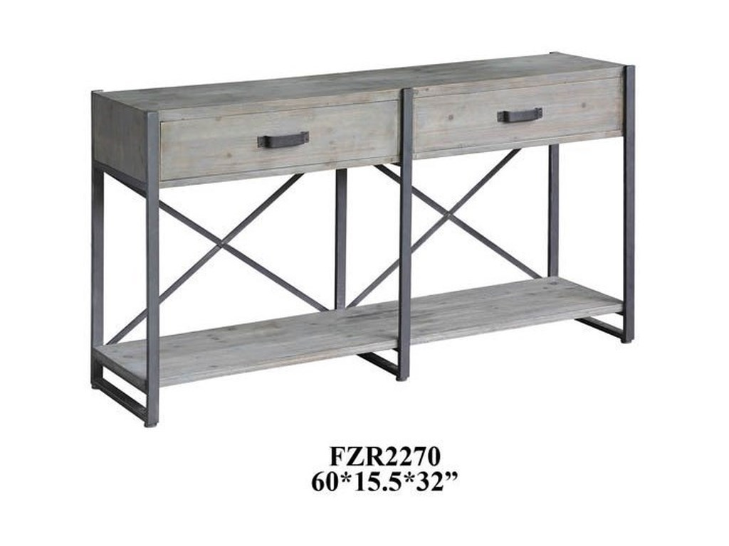 Crestview Collection Accent FurnitureIron Junction 2 Drawer Metal and Wood Rustic