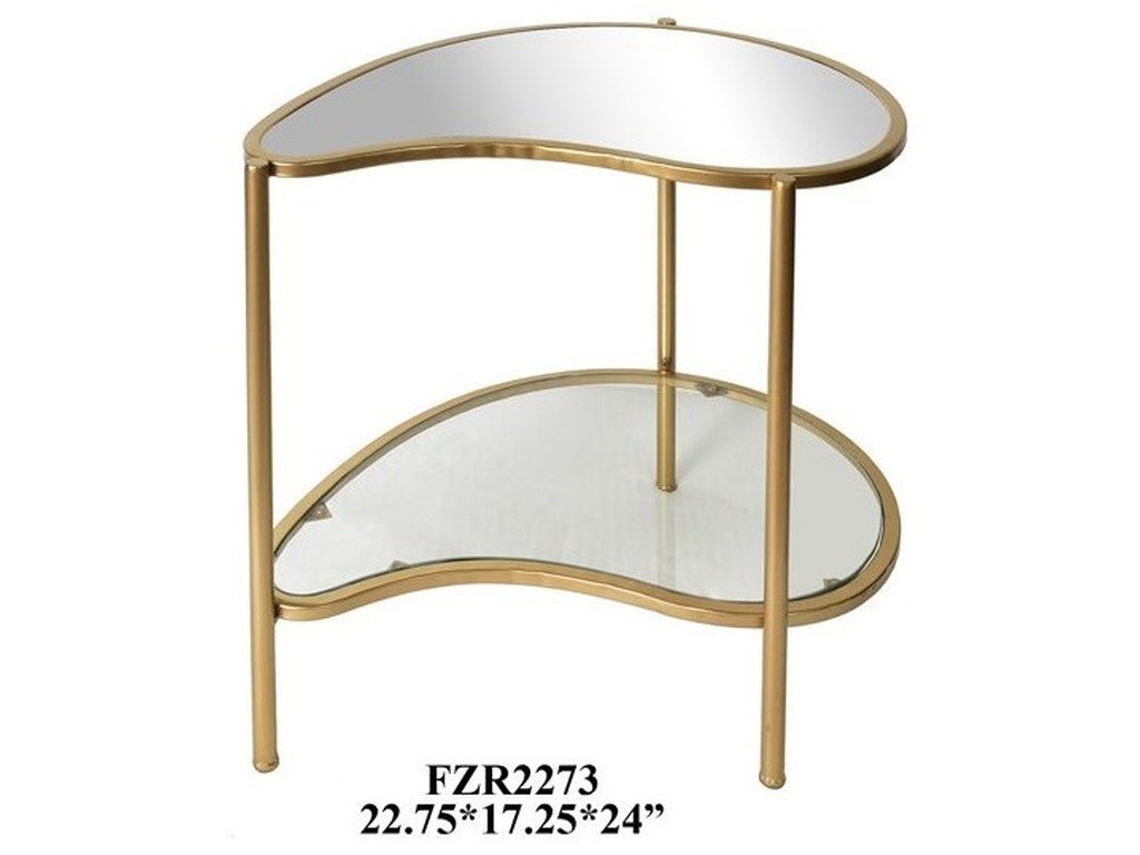 Crestview Collection Accent FurnitureAthena Gold Kidney Shaped Accent Table