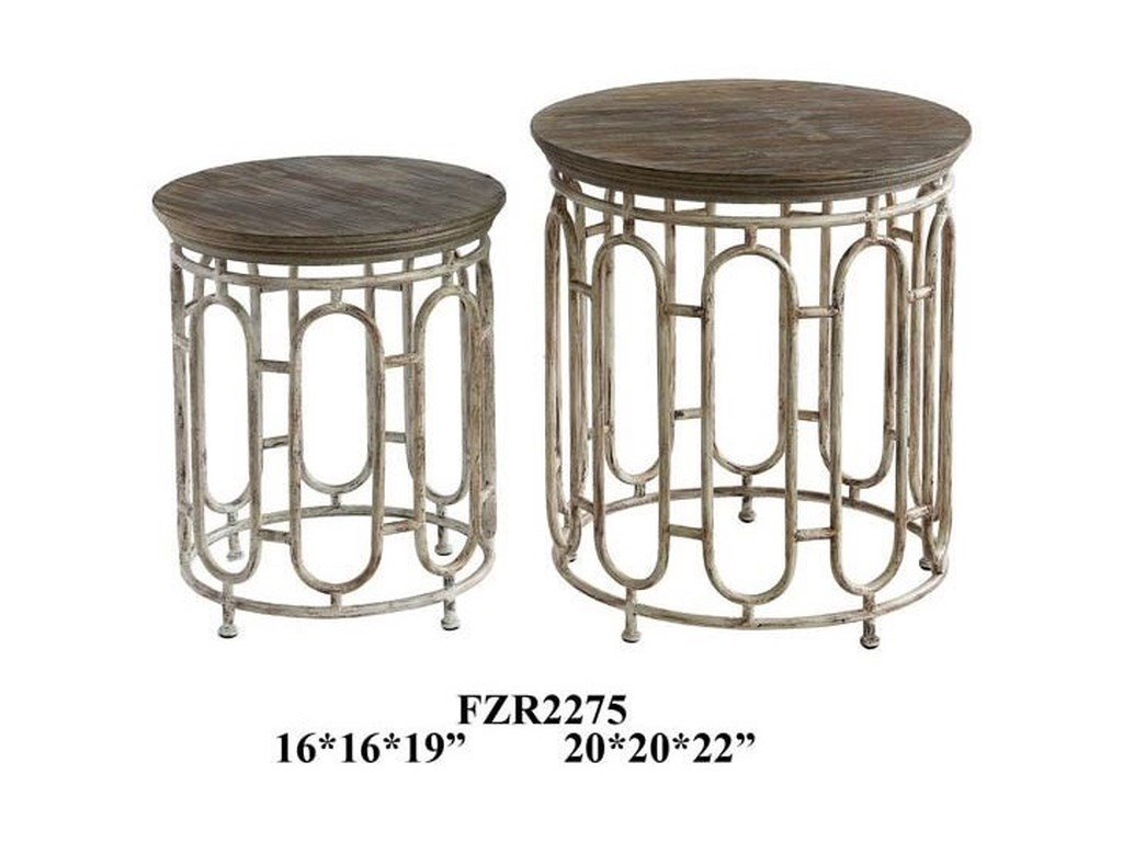 Crestview Collection Accent FurnitureAllyson Textured Metal and Wood Set of Table