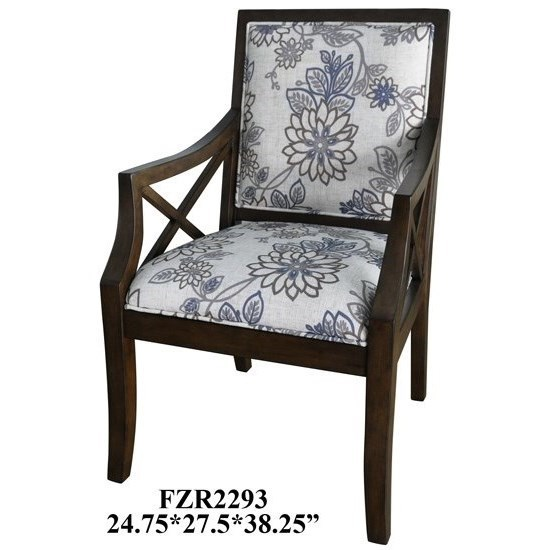 Crestview collection accent furniture sylvia floral linen pattern accent chair w heritage birch finish