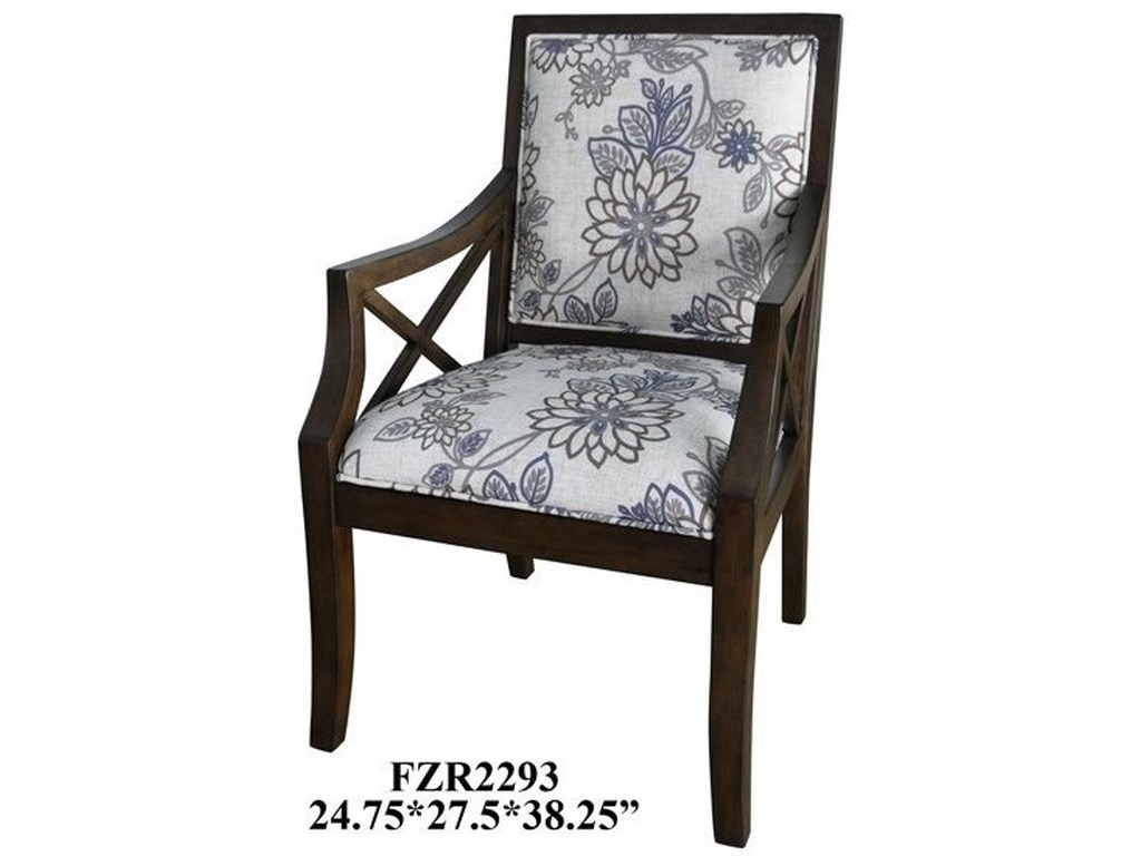 Crestview Collection Accent FurnitureSylvia Floral Linen Pattern Accent Chair w/
