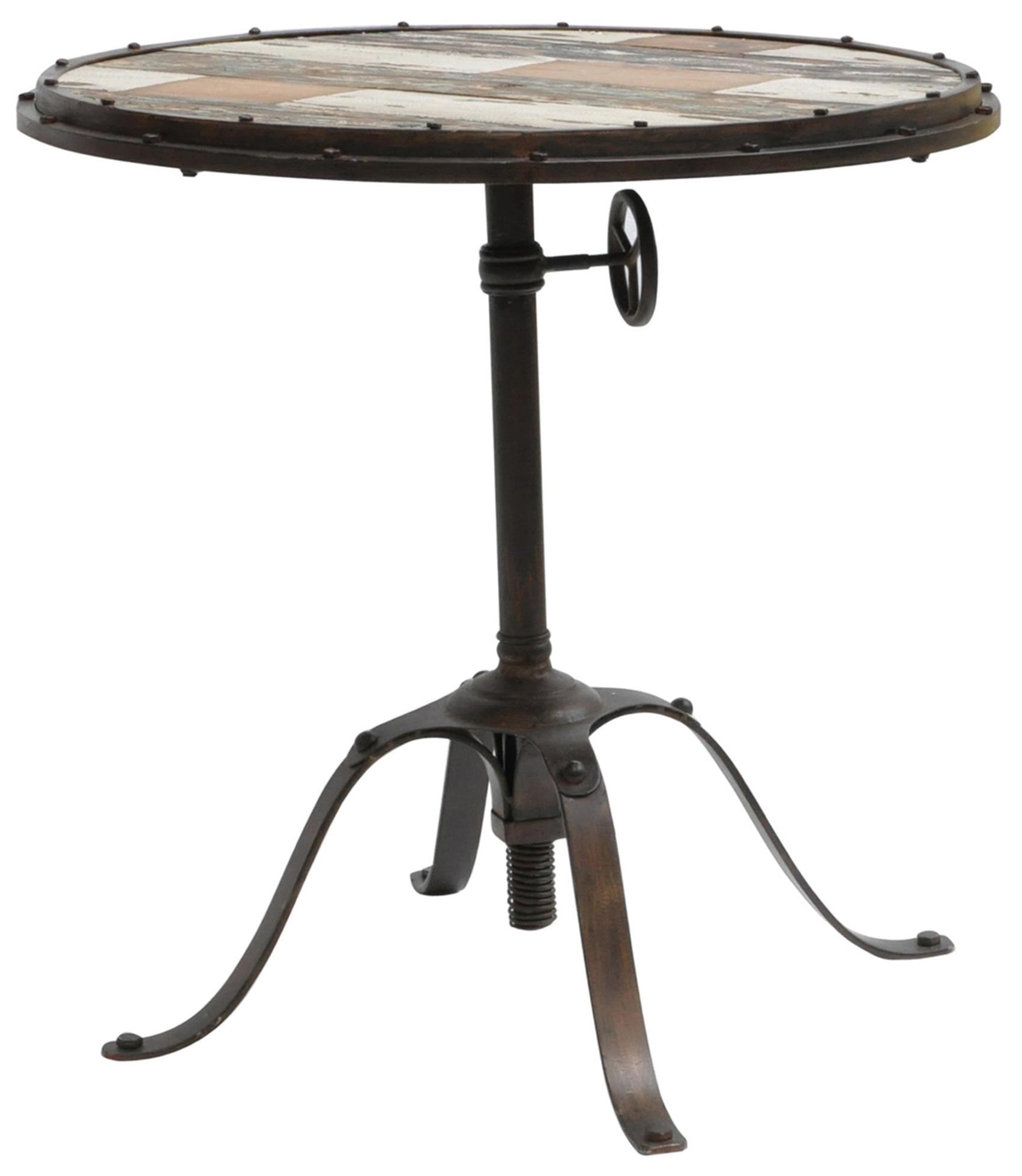 Crestview Collection Accent Furniture Ricci Round Table With Industrial  Metal Base And Distressed Painted Wood Top