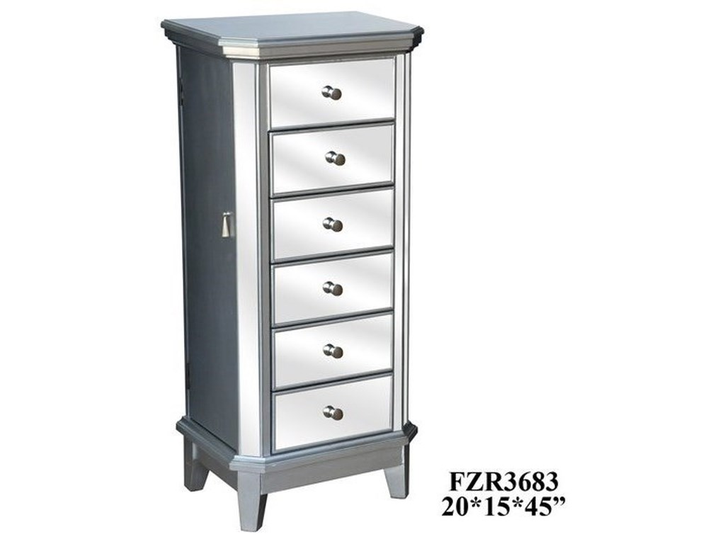Crestview Collection Accent FurnitureSterling Silver and Mirror Jewelry Armoire