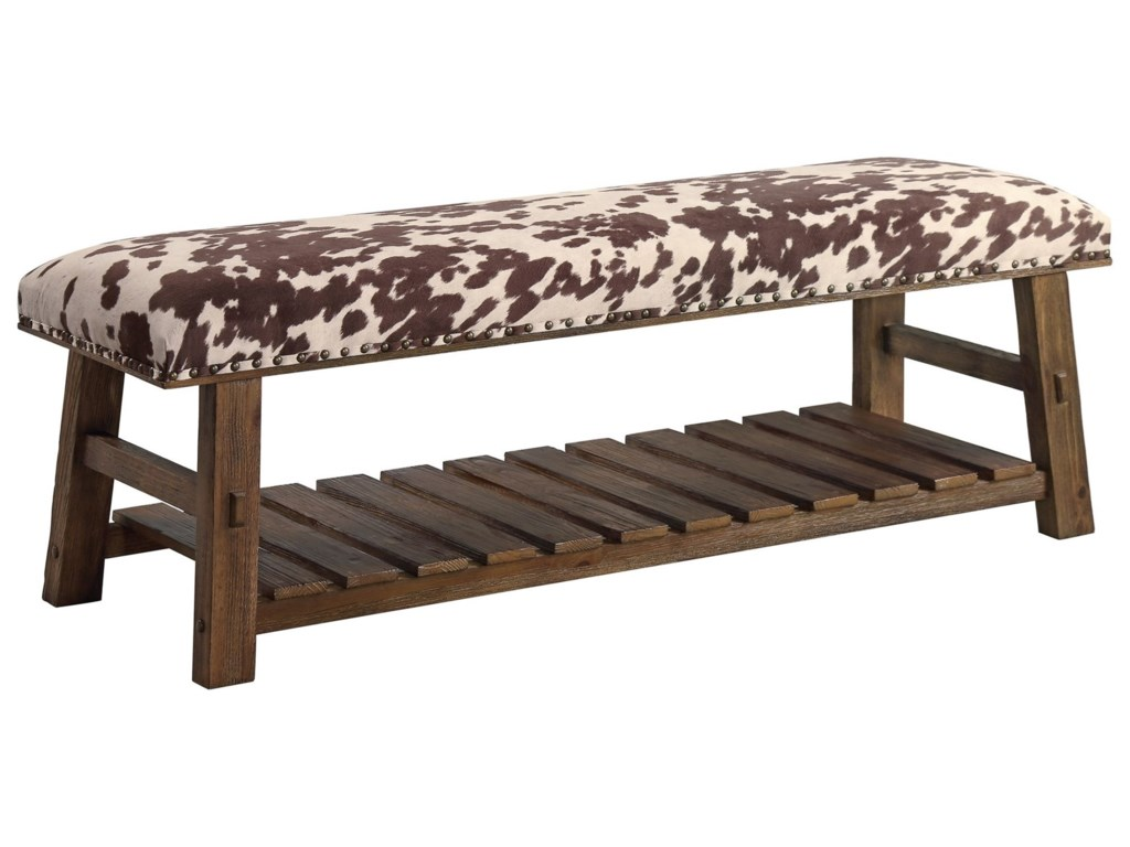 Crestview Collection Accent FurnitureMesquite Faux Cowhide Bench