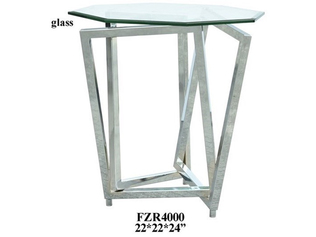 Crestview Collection Accent FurnitureChrome Overlapping Legs Accent Table