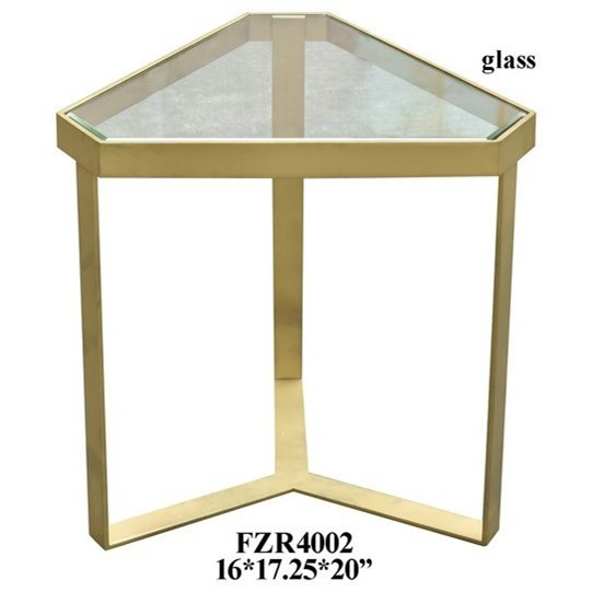 Bon Crestview Collection Accent Furniture Melrose Gold Triangle Accent Table