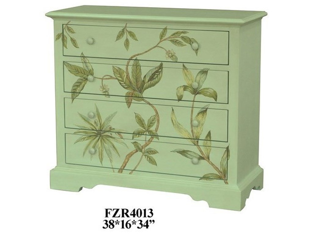 Crestview Collection Accent FurnitureFloral 4 Drawer Chest