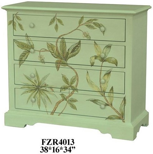 Crestview Collection Accent Furniture Botanic Celadon Floral 4 Drawer Chest